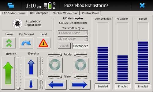 Интерфейс программы Puzzlebox Brainstorms