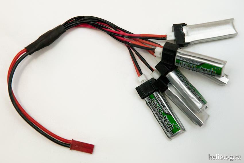 Турниджевские MSR-овские аккумуляторы подключенные к шнурку для параллельной зарядки
