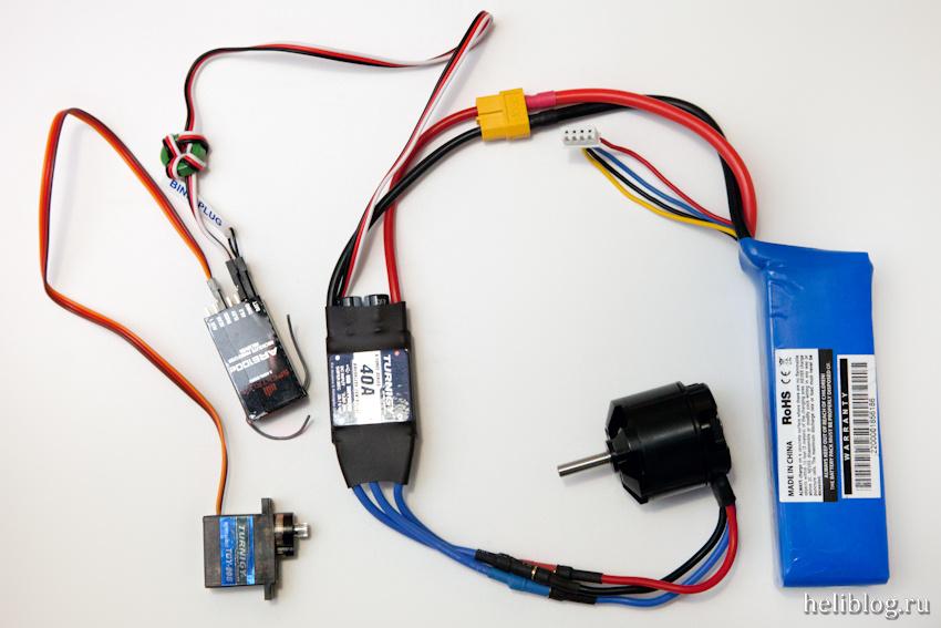 Подключение регулятора, мотора, сервы и приемника